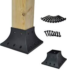 Myard Pnp114040 4x4 Actual 3 5x3 5 Inches Post Base Cover Skirt Flange With Screws For Deck Porch Handrail Railing Support Trim Anchor Qty 1 Black Amazon Com