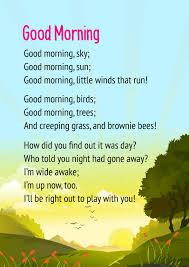 good morning poem for cl 3 cbse
