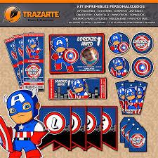 Kit Imprimible Capitan America Bebe Personalizado Candy Bar