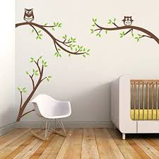 Amazon Com Removable Tree Wall Decal Cartoon Wall Decor Lively Owls With Tree Branch Wall Sticker For Nursery Kids Room Bedroom C Small Leaves Lime Tree Green Trunk And Owl Brown Home Kitchen