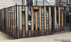 Metal Fence With Wood Sections Picture Interunet