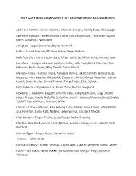 2017 South Dakota High School Track & Field Academic All-State Athletes  Aberdeen Central – Jenna Grismer, Michael Johnson,