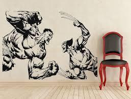 Amazon Com Adecalsnew Wolverine Vs Hulk Wall Decal Superhero Vinyl Sticker Wall Decor Removable Waterproof Deca Home Kitchen