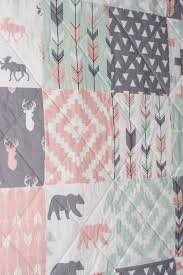 rustic girl quilt pink mint grey gray