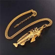 hip hop chain big fish bone pendant