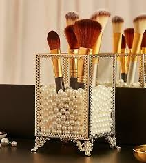 elegant glass makeup comestic organizer