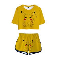 Summer Pokemon Go Anime Pikachu 3D Two Pieces Sets Women Sexy Crop Tops +  Shorts Pants Girl Elastic Waist Tracksuit Women 