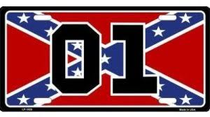 Dukes Of Hazzard 01 Confederate Flag Car Tag