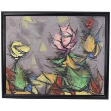 1953 Abstract Cactus Flowers Oil Painting Arthur Jacobson Chicago ...