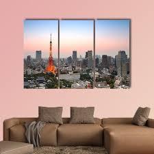 Tokyo City Skyline At Sunset Multi Panel Canvas Wall Art Tiaracle