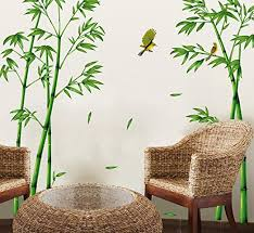 Amazon Com Ufengke Chinese Stytle Green Bamboo And Bird Wall Decals Living Room Bedroom Tv Wall Removable Wall Stickers Murals Kitchen Dining