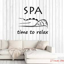 Time To Relax Quote Vinyl Wall Decal Spa Salon Quote Woman Massage Room Saying Art Decor Stickers Mural Removable Wallpaper L646 Wall Stickers Aliexpress