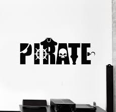 Vinyl Wall Decal Pirate Kids Room Sea Wheel Skeleton Marine Art Sticke Wallstickers4you