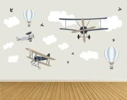 Baby Boys Wall Stickers Hot Air Balloon Decals Planes White Clouds And Stars Blue Nursery Decor Toddler Room Up Up And Away In 2020 Airplanes Wall Decals Cloud Nursery Wall Airplane Wall