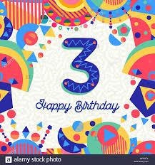 Feliz Cumpleanos Tres 3 Anos De Diseno Divertido Con Numero Texto