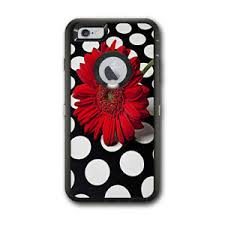 Skin Decal For Otterbox Defender Iphone 6 Plus Case Red Flower On Polka Dots 648620434944 Ebay