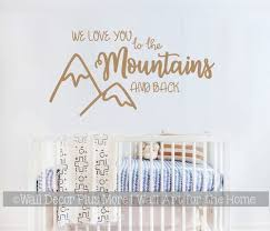 Woodland Wall Art Sticker We Love You Mountains Kids Nursery Room Decal