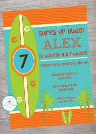 Surfs Up Surfer Party Kid Birthday Party Invitation Printable