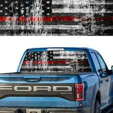 Rear Window Decal Graphic Tint American Flag Distressed Firefighter Red Line Ebay