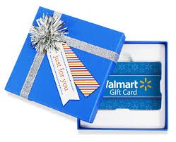 walmart gift card in a blue gift box