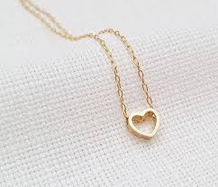 gold love necklace heart necklace