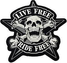 Amazon Com Live Free Ride Free Skull Embroidered Large Back Patch Motorcycle Biker Club Series Jacket Vests Ghost Hog Outlaw Rocker Jumbo Iron Or Sew On Emblem Badge Appliques Application Fabric Patches