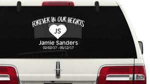 Forever In Our Hearts With Heart Memorial Car Decal Truck Etsy