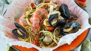 Seafood spaghetti baked in parchment ...