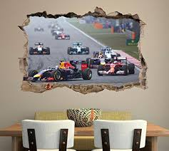 Formula 1 F1 Race Cars Smashed Wall Decal Graphic Sticker Art Mural J50