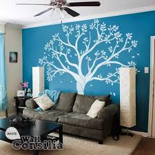 Large Nursery Wall Decal Set With Grey Birds And Orange Leaves Tree Wall Decalswallconsilia Com
