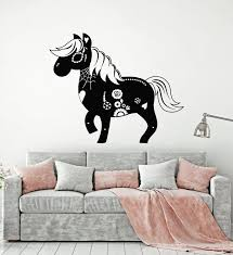 Vinyl Wall Decal Day Of The Dead Horse Drawing Carnival Skull Stickers Wallstickers4you