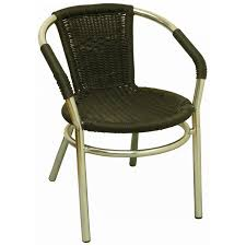 faux rattan patio chair in black seat