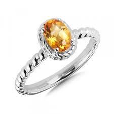 sterling silver and oval citrine ring