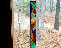 stained glass panel with springtime