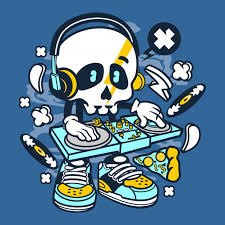 dj skull cartoon premium vector