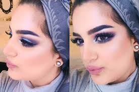cool toned grey blue smokey eye makeup
