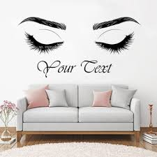 Custom Text Eyelashes Wall Decal Beautiful Lashes Wall Decor Brows Beauty Salon Studio Eyebrows Wall Sticker Art Posters Lc1346 Leather Bag