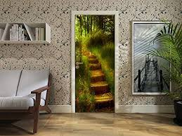 Amazon Com Flfk 3d Fairy Tale Forest Path Self Adhesive Door Sticker Wall Mural Decal For Home Decal 30 3 X78 7 Home Kitchen