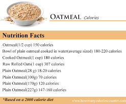 how many calories in oatmeal how many