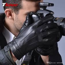 winter black pu leather gloves men warm