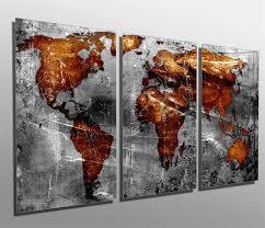 Copper Gray World Map Metal Print Wall Art 3 Panel Split Triptych Canvas Quest