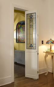 decorative glass and wood bifold doors