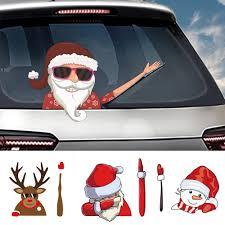 Christmas Car Waving Wiper Decals Window Santa Claus Waving Wiper Tag With Decal Car Windshield Sticker Waving Wiper Tags Aliexpress