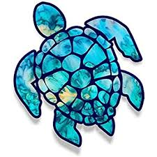 Amazon Com 3 Inch Sea Turtle Sticker For Laptops Cupstumblers Cars And Trucks Any Smooth Surface Cyan Dream Automotive