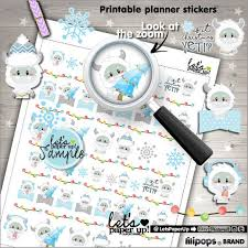Christmas Stickers Printable Planner Sticker Kawaii Stickers Planning Stickers Winter Stickers Yeti Stickers Fun Stickers By Let S Paper Up Catch My Party