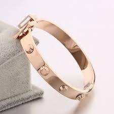 women rose gold snless steel bangle