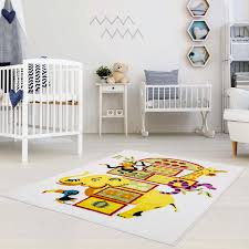 Ladole Rugs Adorable Cute Durable Soft Modern Moda Collection Kids Area Rug Carpet With Elephant White 4x6 Walmart Com Walmart Com
