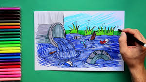 how to draw water pollution