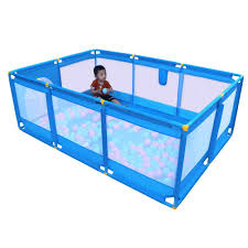 Amazon Com Olpchee Portable Folding Baby Playpen Playard Rectangle Toddlers Play Yard With Door Activity Center Child Play Fence Blue Baby