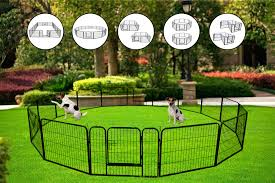 Dog Pen For Outside Portable Folding Dog Puppy Cat Fence Barrier Playpen Kennel Heavy Duty Metal Pet Exercise Play Pen Dog Fences For Backyard Indoor Outdoor Great For Small Pets 16 Panels
